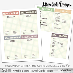 Get Fit Printable Sheets - Journal Cards - Large