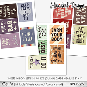 Get Fit Printable Sheets - Journal Cards - Small