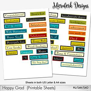 Happy Grad Printable Sheets