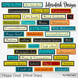 Happy Grad Word Strips
