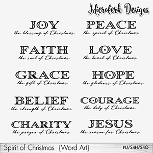 Spirit of Christmas Word Art