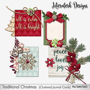 Traditional Christmas Clustered Journal Cards