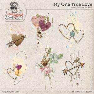 My One True Love Mixed Media Hearts