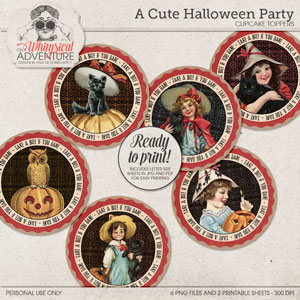 A Cute Halloween Party Cupcake Toppers
