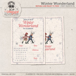 Winter Wonderland Editable Party Invitation