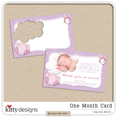 One Month Card Freebie