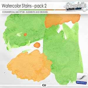 Watercolor Stains (CU elements and brushes) 180 by Simplette   Oscraps