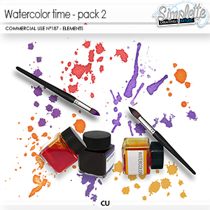 Watercolor Time - pack 2 (CU elements) 187 by Simplette   Oscraps