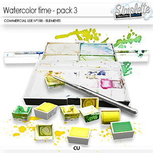 Watercolor Time - pack 3 (CU elements) 188 by Simplette   Oscraps
