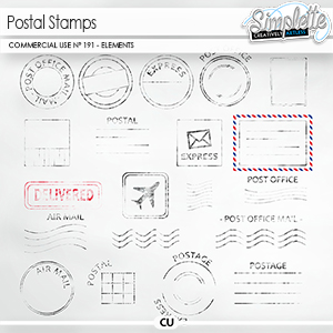 Postal stamps (CU elements) 191 by Simplette   Oscraps