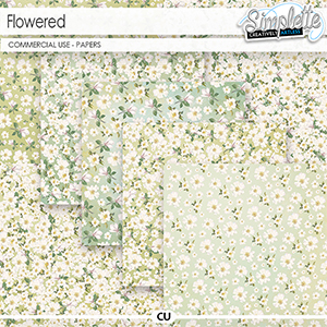 Flowered (CU papers) by Simplette | Oscraps