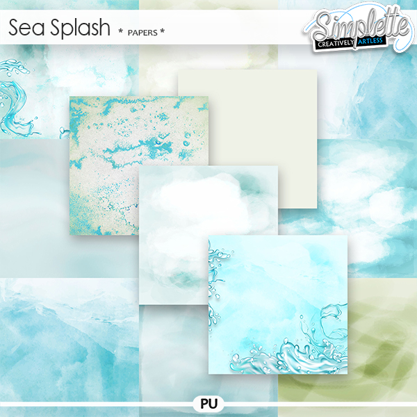 Sea Splash (papers) by Simplette | Oscraps