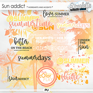 Sun Addict (wordarts and accents) by Simplette Fab Friday Oscraps