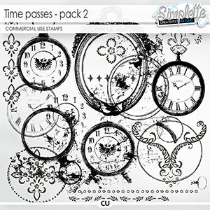 Time passes (CU stamps) pack 2 by Simplette | Oscraps