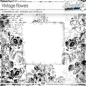 Vintage Flowers (CU borders and overlays) by Simplette | Oscraps