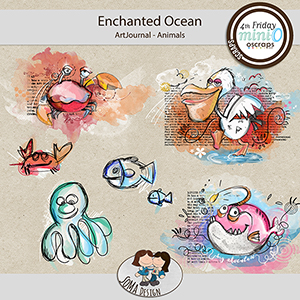 SoMa Design: Enchanted Ocean MiniO - Art Journal - Animals