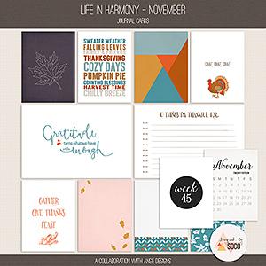 Life In Harmony - November {Journal Cards}
