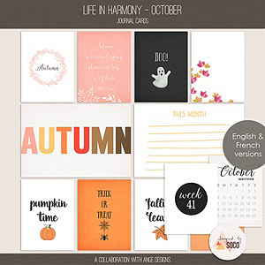 Life In Harmony - October {Journal Cards}