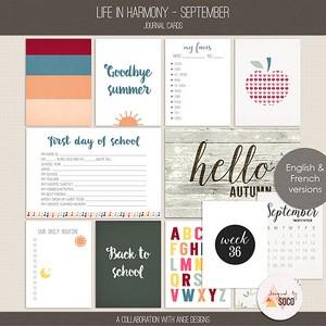 Life In Harmony - September {Journal Cards}