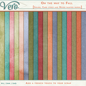 On The Way To Fall Cardstocks Solids and Water Painted Papers by Vero