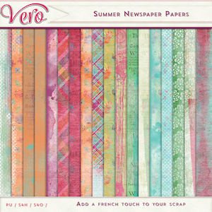 Summer Newspaper Patterned Papers by Vero