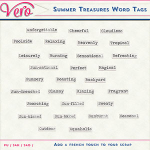 Summer Treasures Word Tags by Vero