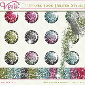 Travel Book Glitter Styles and Papers by Vero