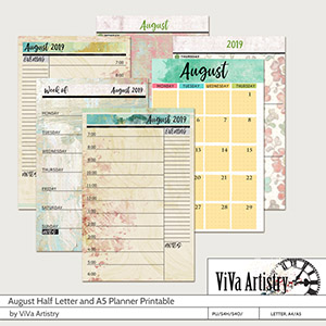 August 2019 Half Letter and A5 Planner Printable