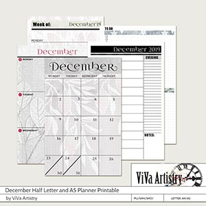 December 2019 Half Letter and A5 Planner Printable
