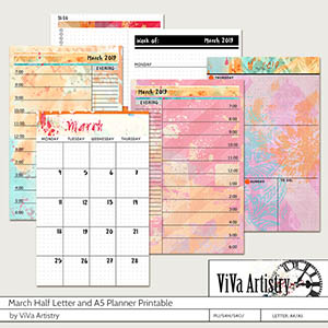 March 2019 Half Letter and A5 Planner Printable
