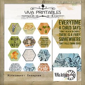 Midsummer: Hexagon Printables