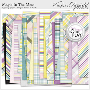 Magic in the Mess Solids Stripes and Plaid Papers