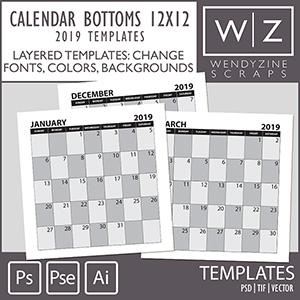 TEMPLATES: 2019 Calendar Bottoms 12x12