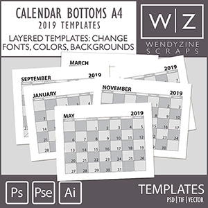 TEMPLATES: 2019 Calendar Bottoms A4