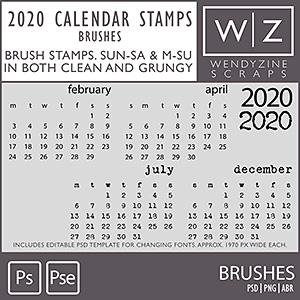 TEMPLATES: 2020 Calendar Stamps v1