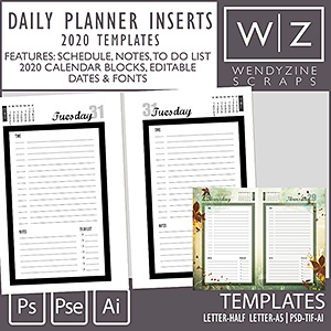 TEMPLATES: 2020 Daily Planner Inserts