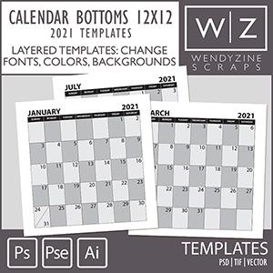 TEMPLATES: 2021 Calendar Bottoms 12x12