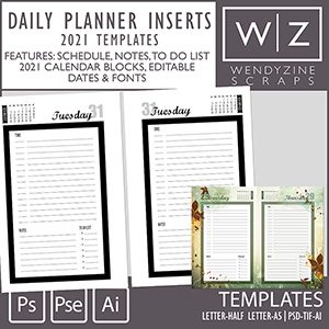 TEMPLATES: 2021 Daily Planner Inserts