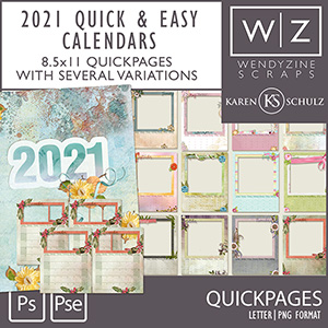 2021 Quick & Easy Calendars {Quickpages}