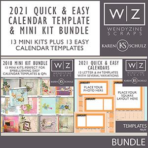 2021 Quick & Easy Calendars {Template & Mini Kit Bundle}