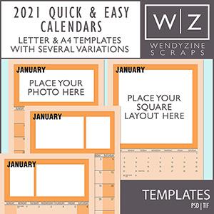 2021 Quick & Easy Calendars {Templates}