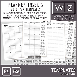TEMPLATES: 2019 Planner Inserts 7x9