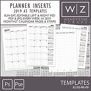 TEMPLATES: 2019 Planner Inserts A5