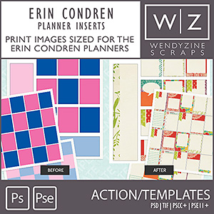 TEMPLATES: Erin Condren Planner Cards w/ Filler Action