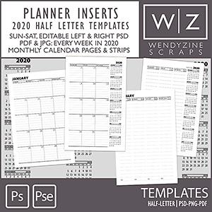 TEMPLATES: 2020 Planner Inserts Half Letter