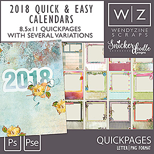 2018 Quick & Easy Calendars {Quickpages}