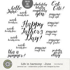 Life In Harmony - June {Wordarts}