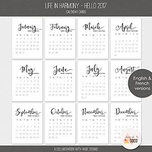 Life In Harmony - Hello 2017 {Calendar Cards}