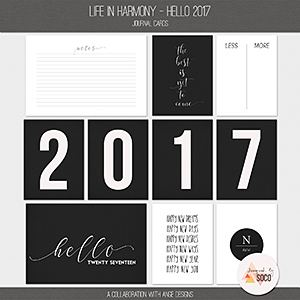 Life In Harmony - Hello 2017 {Journal Cards}