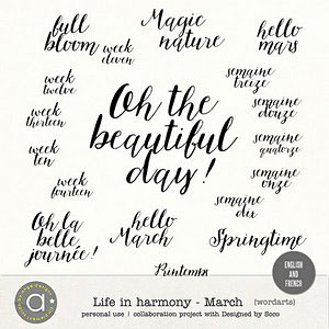 Life In Harmony - March {Wordarts}